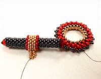 Peyote Beaded Toggle Clasp - Ring and T-Bar - step-by-step photographic instruction sheet